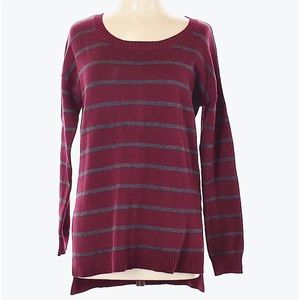 Striped Sweater (large) high low Gray / Burgundy